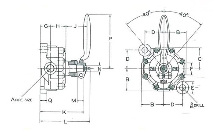 Unitite Valve Column Mount Dimensional Drawing
