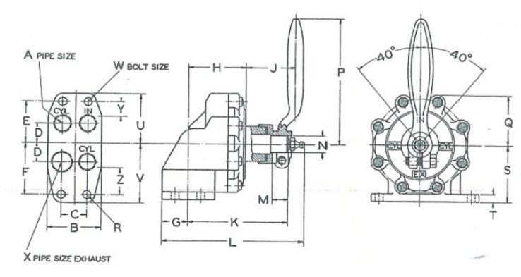 Unitite Valve Manifold Mount Dimensional Drawing