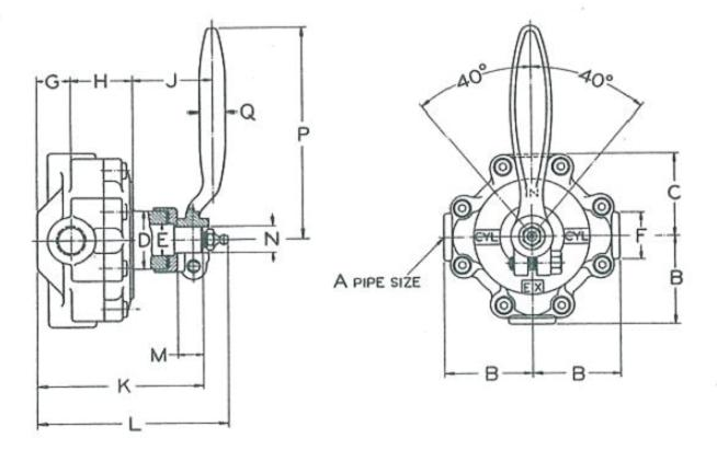 Unitite Valves Standard Mount Dimensional Drawing